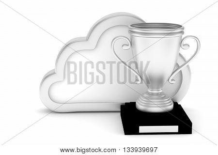 Isoalted silver cup with cloud on white background.  Concept of cloud storage competition. Leader cloud drive. Best storage contest. 3D rendering.