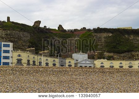 The ruins of the Castle of Hastings seen from the pebble beach.