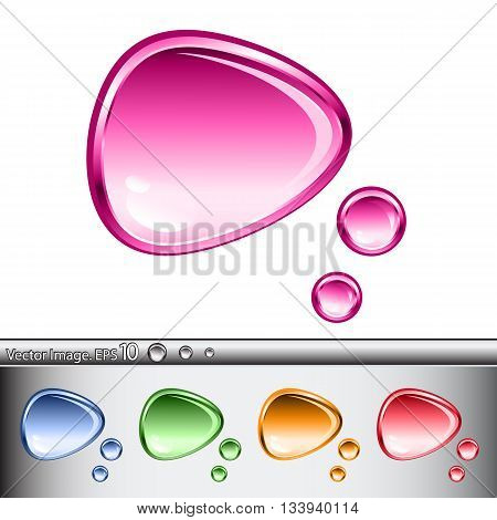 Set of glass speech bubbles of different colors. Vector illustration