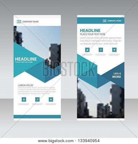 Blue Triangle Business Roll Up Banner flat design template Abstract Geometric banner template Vector illustration set abstract presentation template