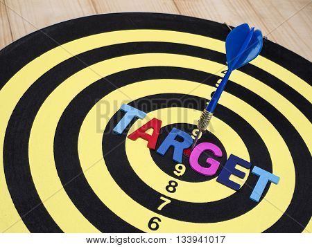 Word spell TARGET on dart board with blue arrow on isolated / white background with clipping path (Business Concept)