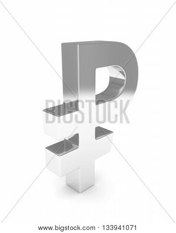 Isolated silver ruble sign on white background. Russian currency. Concept of investment, russian market, savings. Power, luxury and wealth. Russia, Belarus. 3D rendering.