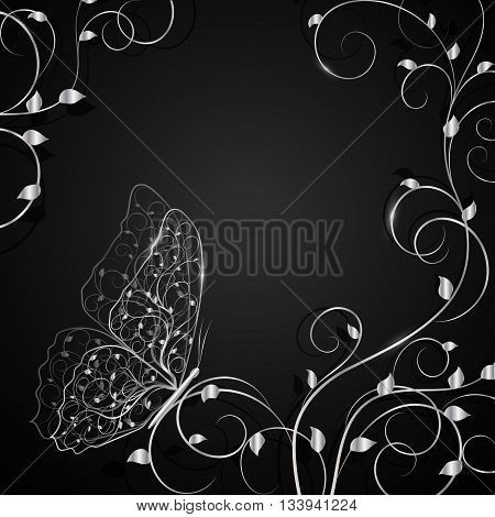 Beautiful silver buttetfly sitting on twine plant. Vector illustration on white background.