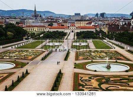 Gardens of the Belvedere castle in Vienna Austria