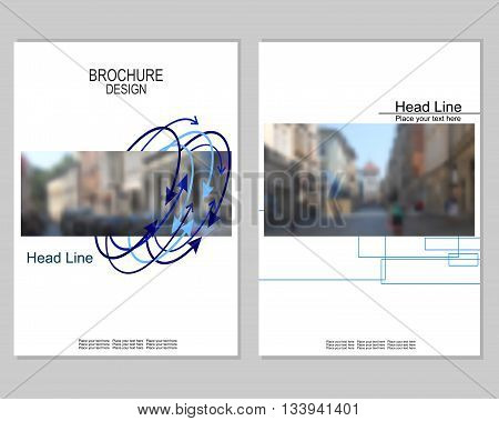 Vector brochure cover templates with blurred cityscape. Business brochure cover design. EPS 10. Mesh background.
