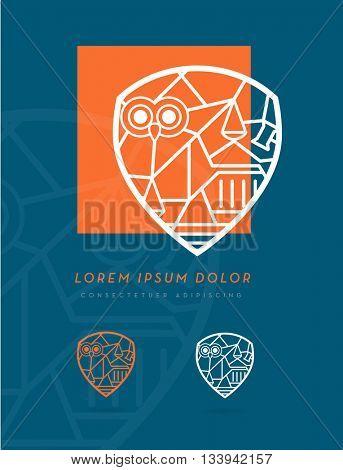 LAW DESIGN ELEMENTS INCORPORATED IN A SHIELD SYMBOL , MODERN PREMIUM DESIGN , VECTOR LOGO / ICON