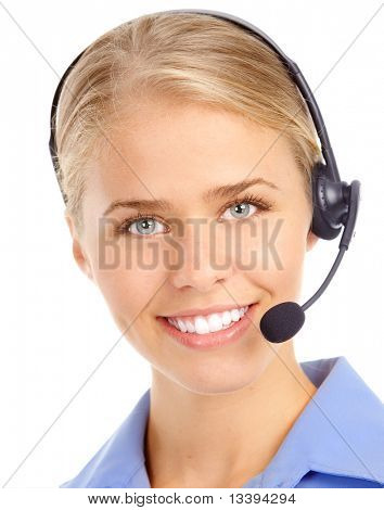 Beautiful  customer service operator woman with headset. Over white background