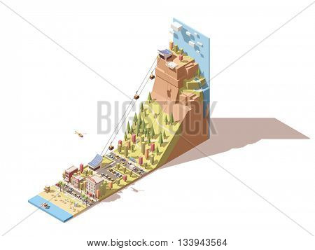 Vector Isometric travel and vacations icon or infographic element representing cableway to the viewing platform on the mountain, waterfall, sea beach, cable cars over the forest, hotel and cafe