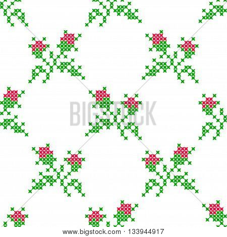 Seamless embroidered texture of abstract flat pink green flowers roses for cloth