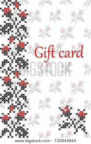 Gift card with abstract flat red black embroidered ornaments of roses