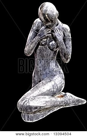 artistic oil painting of sitting female statue