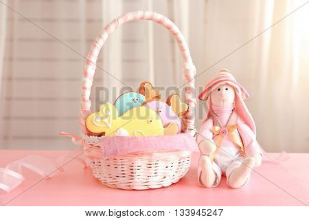 Spice cakes in basket on the table