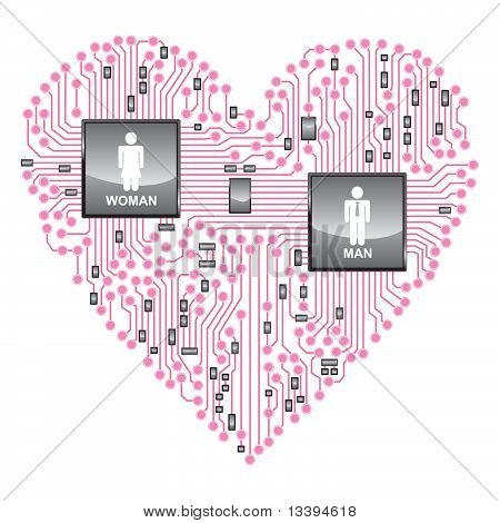 Heart Circuit board, online love
