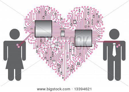 Heart Circuit board LOVE
