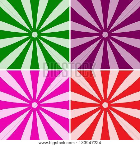 Set Of Backgrounds Ray. Abstract Sun Rays. Collection Of Blue, Red, Orange, Purple, Rays.