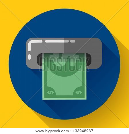 Getting money from an ATM bankomat card symbol icon. Flat design style