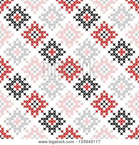 Seamless texture with red and black abstract patterns for tablecloth.Embroidery.Cross stitch