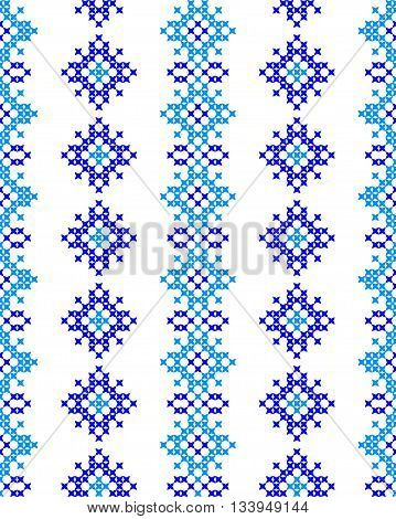 Seamless texture with blue abstract patterns for tablecloth.Embroidery.Cross stitch.