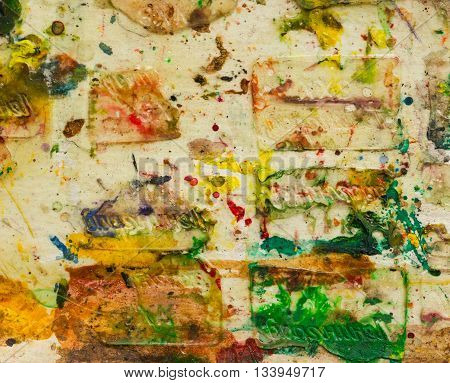Abstract randomly smeared in paint paper background