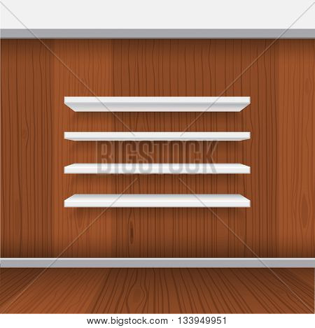 Vector White Empty Shelf Shelves Isolated on Wall Background. Display Mock-up with realistic interior wood wall background