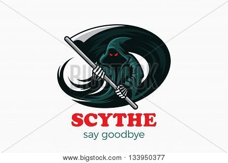 Halloween Death Devil Demon Horror Ghost Scythe Logo abstract