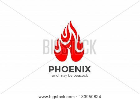 Peacock Phoenix droplet fire flame Logo Negative space burning