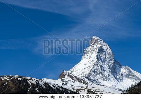 Peak Of Matterhorn Mountain With Blue Sky