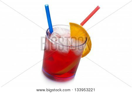 Red cocktail with ice cubes on white background