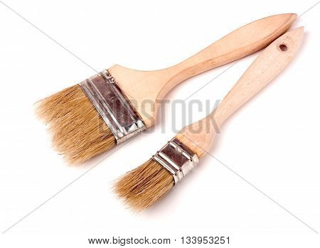 two different size paint brushes isolated on white background.