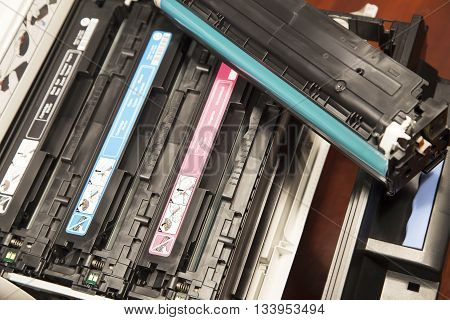 The laser cartridges in an open printer