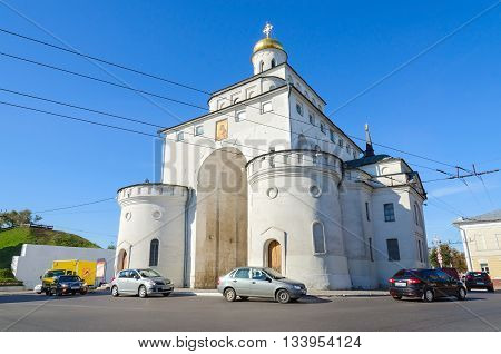 VLADIMIR RUSSIA - AUGUST 21 2015: Golden Gate are monument of ancient Russian architecture (built in 1164) and monument of UNESCO World Heritage site in Vladimir Russia