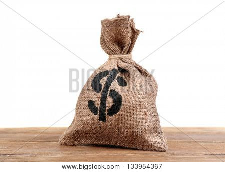 Sack with money on white background