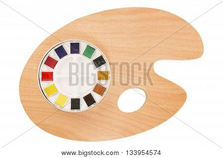 Pallet and water colors isolated on white
