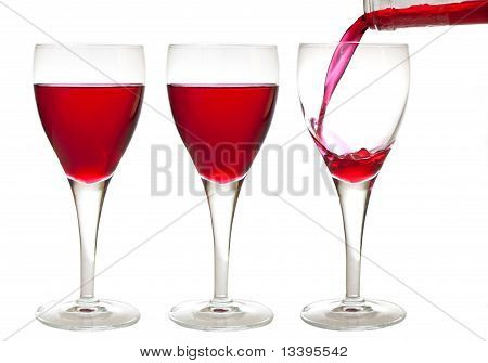 Three Red Liqueur Drinks