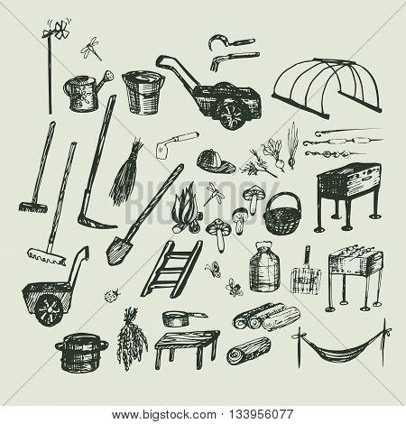 Set Sketch vector illustration gardening vacation and holidays