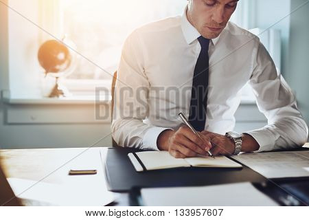 Close Up Of Business Man In Shirt And Tie Working
