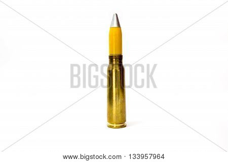 20 mm explosive bullet of aircraft machine gun isolated on white background