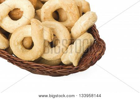 Taralli on the whiteTraditional Italian snack from Puglia