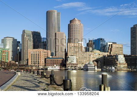Early morning view of Rowes Wharf from Fan Pier on Boston's Harborwalk