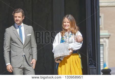 STOCKHOLM SWEDEN - JUN 06 2016: The swedish prins Carl Philip Bernadotte and princess Sofia Hellqvist holding the newborn baby Alexander