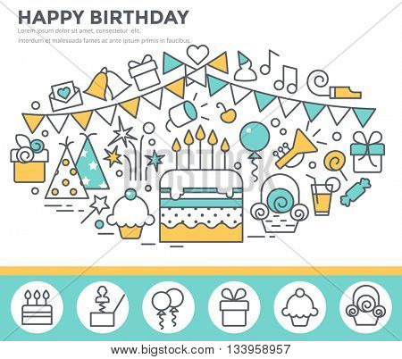 Happy birthday greeting card with cake, party decoration, gift, fireworks. Thin line flat design concept illustration