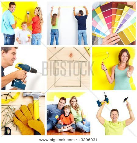 Family doing renovation at home
