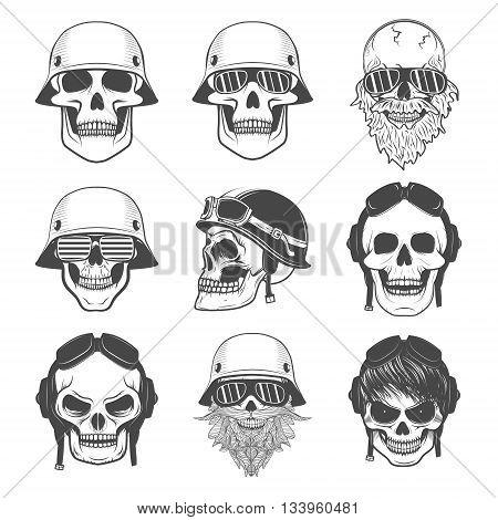 Set of skulls in motorcycle helmets. Design elements for logo label emblem sign badge. Vector illustrations.