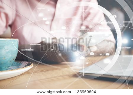 Visual Effects. Worldwide Connection Interface. Close Up Shot Of African Man's Hands Holding Futuris
