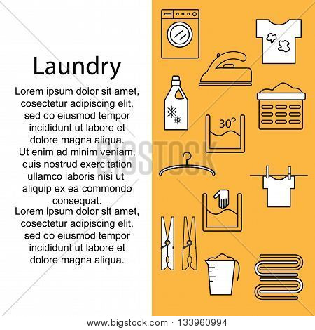 Icons laundry. Banner or poster with icons and a laundry room for text. Template for your text with icons laundry. Vector illustration.