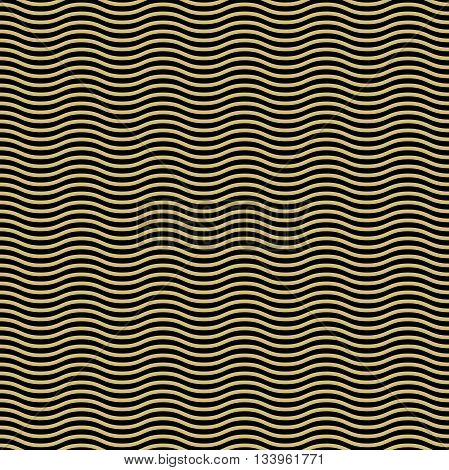 Seamless vector ornament. Modern geometric pattern with repeating black and gkolden wavy lines