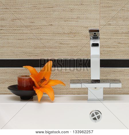 Sink and Faucet - Luxury Bathroom Interior detail