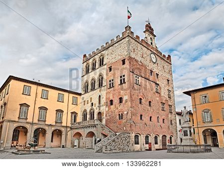 Prato Tuscany Italy - Historic palace Palazzo Pretorio that was the old city hall located town center in the ancient square Piazza del Comune