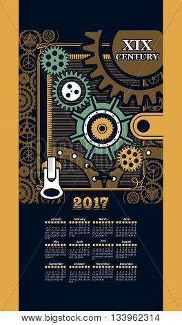Calendar 2017 mechanical steam punk iron parts and mounting frame background Steam