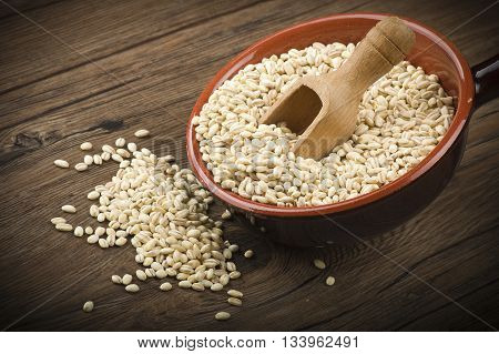 Spoon of Pearl barley close up on a table